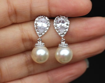 round cream pearl earrings drop earring bridal pearl earring bridesmaid gift wedding earring