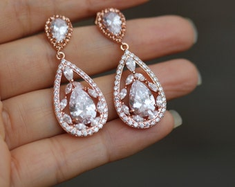 wedding rose gold earring bridal rose gold earring bridal jewelry bridesmaid earring
