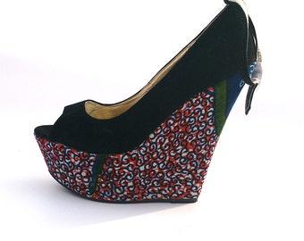 Ankle Strap Open toe Wedge, open toe shoe, Peep toe platform, Ankara shoe  (UK Size 7)