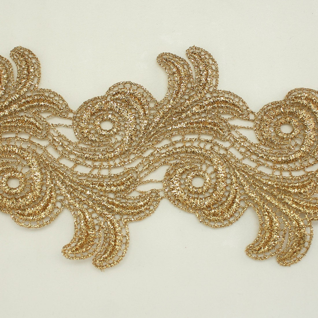 Gold Metallic Rayon Embroidery Lace Trim / 3.8 Wide