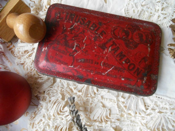 Art Nouveau Inking Pad 1900's French Purple Ink Angel Red Tin Box l'Inusable Tampon #sophieladydeparis