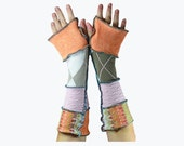Upcycled Arm Warmers Wool Free Cotton Peach Gift for Her Recycled