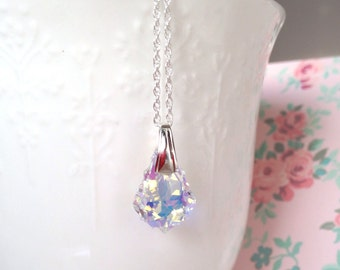 Sterling Silver and Swarovski Crystal Pendant Necklace, Clear AB Baroque Crystal, on 18in Sterling Silver Chain