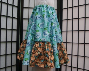 Size 6 Gathered Skirt, Cotton Skirt