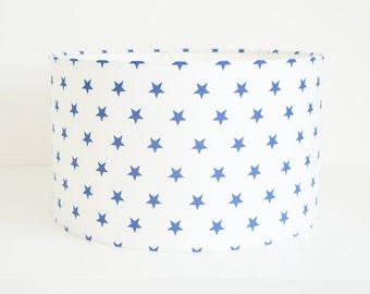 Lampshade Handmade 30 cm Drum lampshade in blue star fabric on white ground