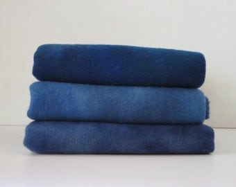 "hand dyed and felted wool for rug hooking and other fiber arts projects ""new blues"""