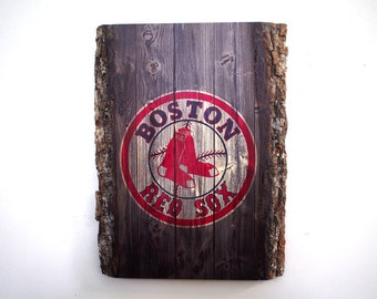 Boston Red Sox Handmade Wood Sign - Rustic Wooden Plaque with Boston Red Sox Logo