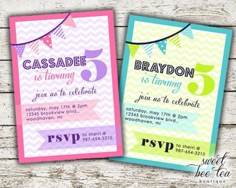 Boy or Girl Birthday Invitation - Any Age - Printable Invite - Chevron Purple Pink Blue Green