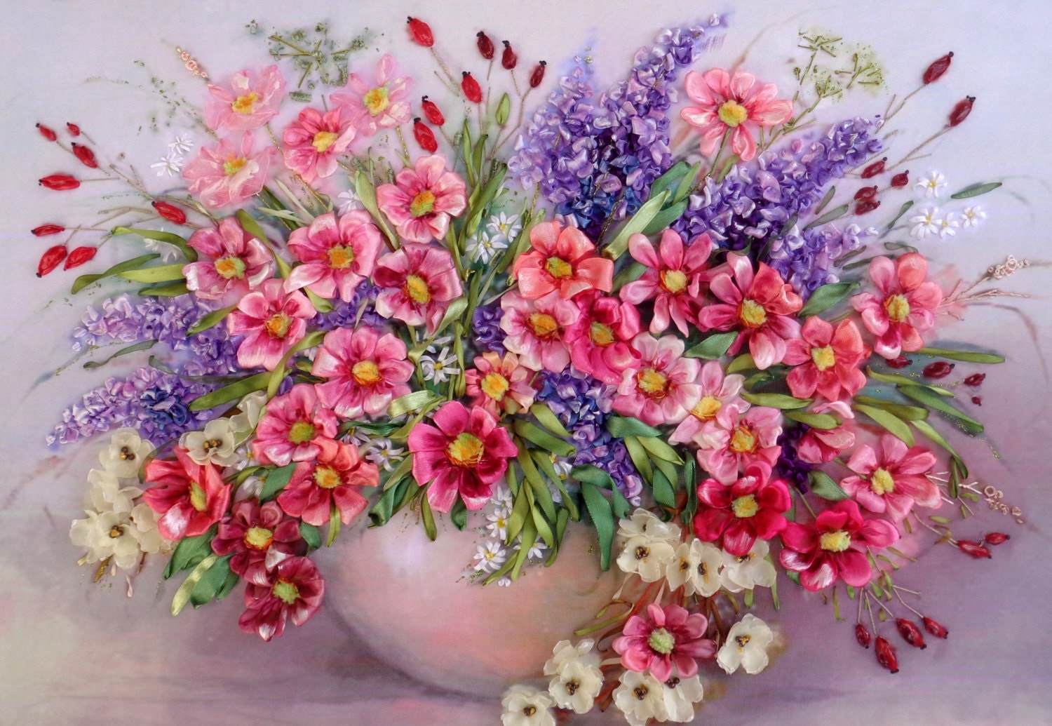 Picture Flowers Silk Ribbon Embroidery