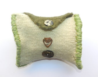 Yellow and Green Hand Knit Felted Envelope Clutch Bag Purse - Smile