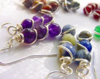 7 Chakra Earrings, Choose Chakra Stone, Dangles, Sterling Option, Reiki Jewelry, Gift Idea