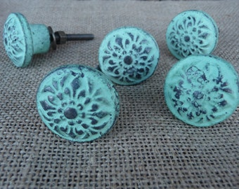 Distressed Seafoam Green Floral Metal knob - Drawer Pull  - Romantic Country Shabby Chic