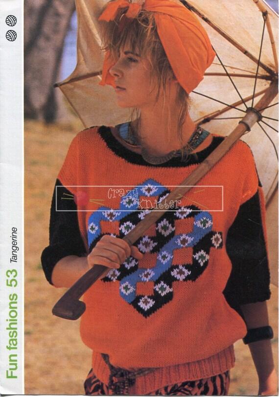 Lady's Shirt with Motif DK 87-92cm Fun Fashion 53 Vintage Knitting Pattern PDF instant download