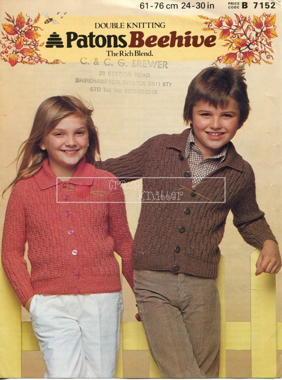 Boy's and Girl's Jacket DK 24-30in Patons 7152 Vintage Knitting Pattern PDF instant download