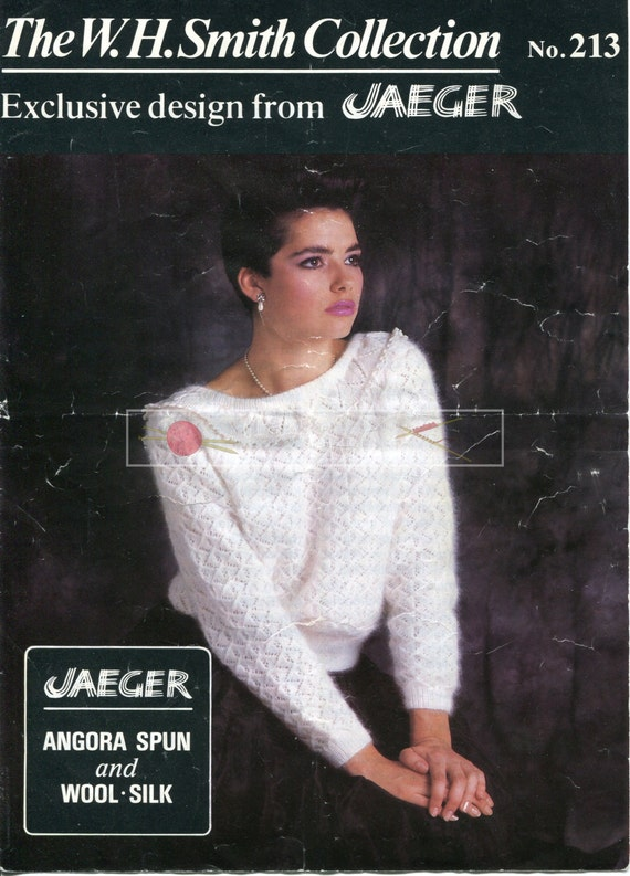 Lady's Scooped Back Lace Sweater 4ply 81-97cm Jaeger 213 Vintage Knitting Pattern PDF instant download
