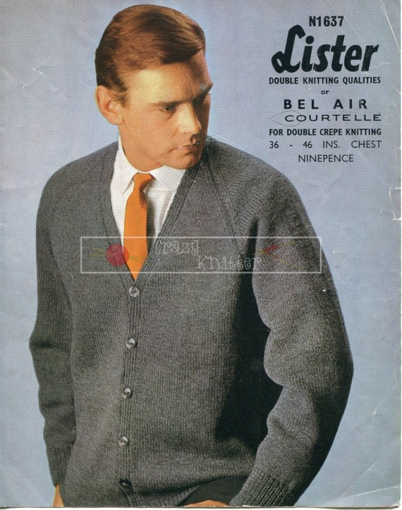 Men's Raglan Cardigan DK 36-46ins Lister 1637 Vintage Knitting Pattern PDF instant download