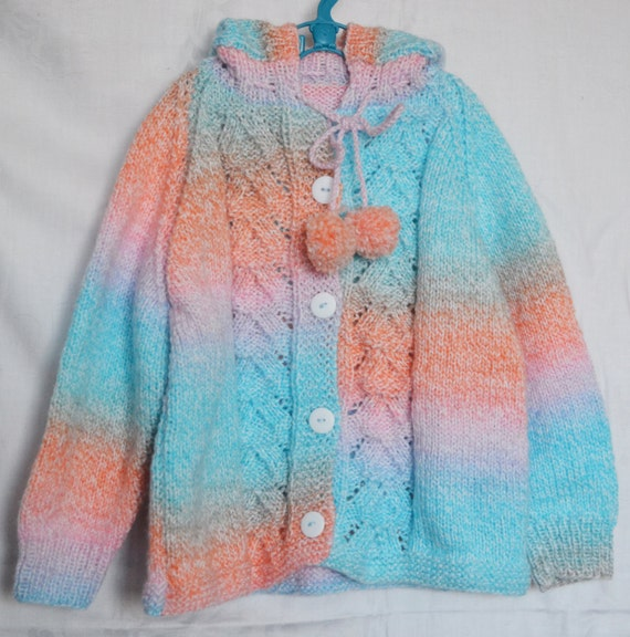 Hand Knitted Girl's Jacket with Hood to fit chest 24ins 2-3 years DK Acrylic Yarn