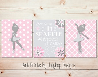 Kids room decor Girl quotes Baby room artwork She leaves a little sparkle Pink gray nursery art Ballerina wall decor Girls room decor #1024