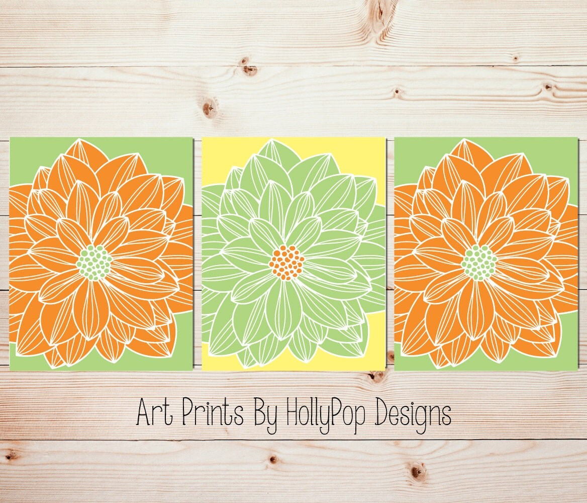 Yellow Green Orange Wall Art Bedroom Wall Art Bathroom Bedroom