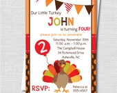Boy Little Turkey Birthday Party Invitation - Thanksgiving Birthday Party - Digital Design or Printed Invitations - FREE SHIPPING