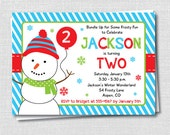 Boy Snowman Party Invitation - Winter Boy Birthday Party - Digital Design or Printed Invitations - FREE SHIPPING