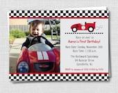 Race Car Photo Birthday Invitation - Race Car Themed Party - Boy Birthday - Digital Design or Printed Invitations - FREE SHIPPING