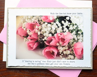 Funny Fable Greeting Card: Bear and the Tulips
