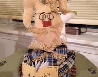 Primitive Easter Standing Bunny with Glasses and Book