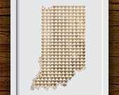 Indiana Art Print, Hearts with Faux Wood - State Heart Print, Wood State Art, Indiana Hearts, Indiana Wood - Wedding Gift