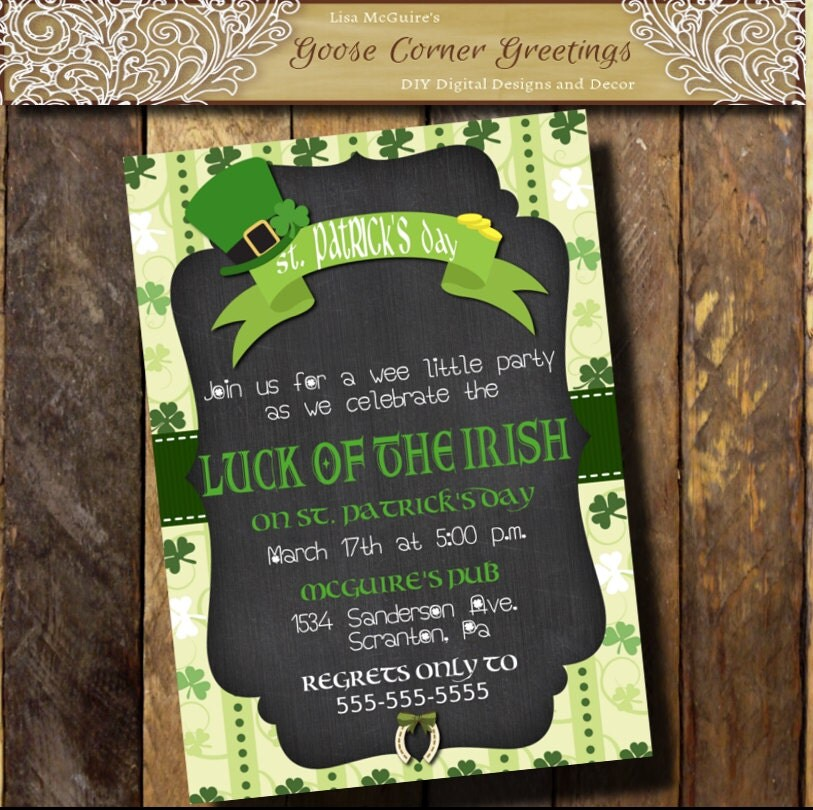 St. Patrick\'s day Invitation/Chalkboard
