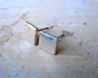Modern square sterling studs, Sterling Silver earrings- 7mm square stud earrings, custome made
