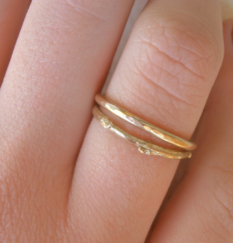 14K Twig ring set , Galilee wild shrub skinny14K gold, Wedding rings ...