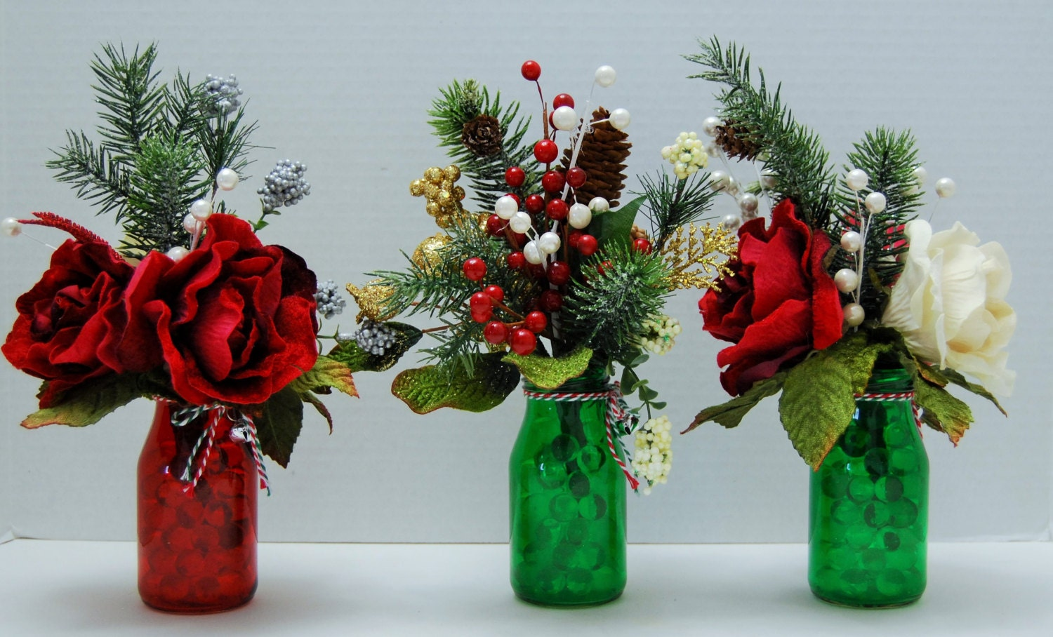 Small christmas centerpiece set silk floral