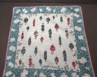 Faith Austin  Chinese Lanterns Handkerchief / vintage hankie / designer  pink aqua