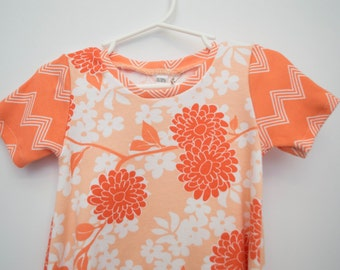 orange peach and white floral jersey knit dress. 18-24 month short sleeve By Little Lapsi