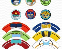 Transformers Rescue Bots Cupcake Toppers and Wrappers Instant Download