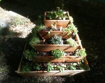 un assembled Pyramid Planter, herb garden, strawberry planter, vertical garden, raised planter, raised garden, school project, school garden