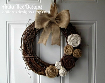 Grapevine Burlap Wreath, Burlap Flowers Wreath, Rustic Wreath, Shabby Chic Wreath