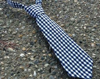 Boys Neck Tie, Infant Tie, Black and White Gingham Neck Tie