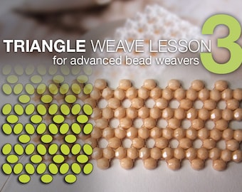 DIY tutorial, Beading lesson, Triangle weave stitch lesson 3 + 2 free beading lessons