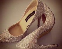 Swarovski Crystal Glitter Bridal High Heel Stiletto Luxury Baby Pink & Pearl Leather Pump