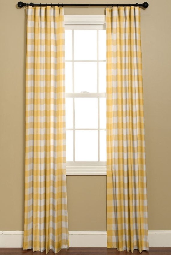 Items Similar To Buffalo Check Curtains Yellow And White