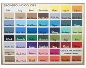 Color Chart - color choices for Castle Inn Designs - No Need to Purchase - For Customer Use Only for Choosing Colors & Fonts