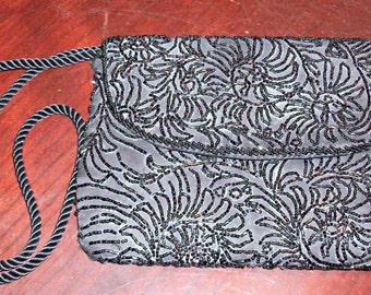 Vintage Black Sequin Clutch/Purse