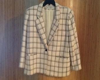 Vintage Evan Picone Window Pane Blazer Jacket Petite Size 10 100% Wool 1970's