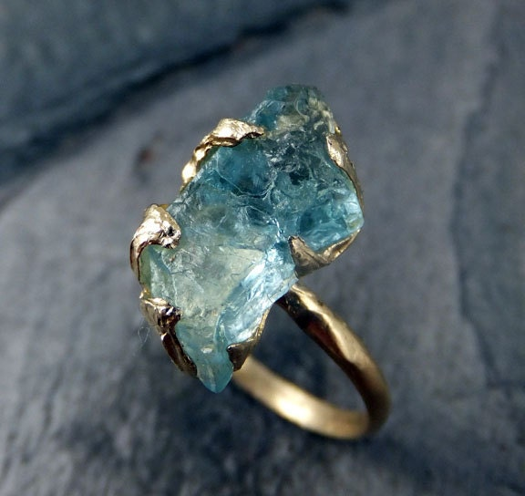 Raw Uncut Aquamarine Ring Solid 14K Gold Ring Wedding