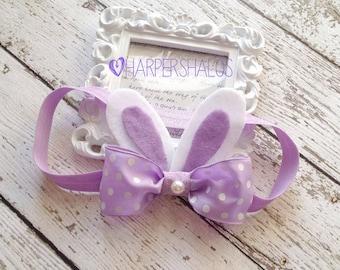 Bunny Ears- Bunny Headband- Easter Bunny Ears and Tail- Easter- Spring- Newborn headband- baby headband- Girls Headband- Easter