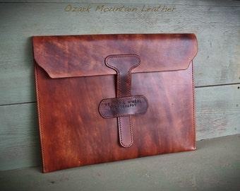 Custom Leather portfolio Satchel Sleeve bag for artwork, papers, or photos