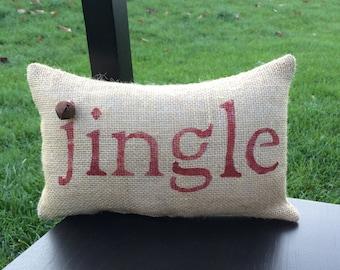 Christmas Pillow Decor Pillow Jingle Christmas Pillow burlap pillow 14x9 accent pillow