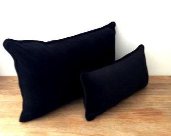 """Velvet Throw Pillow Cover 24"""" by 16"""" , Black Velvet Cushion Cover, Free Shipping"""